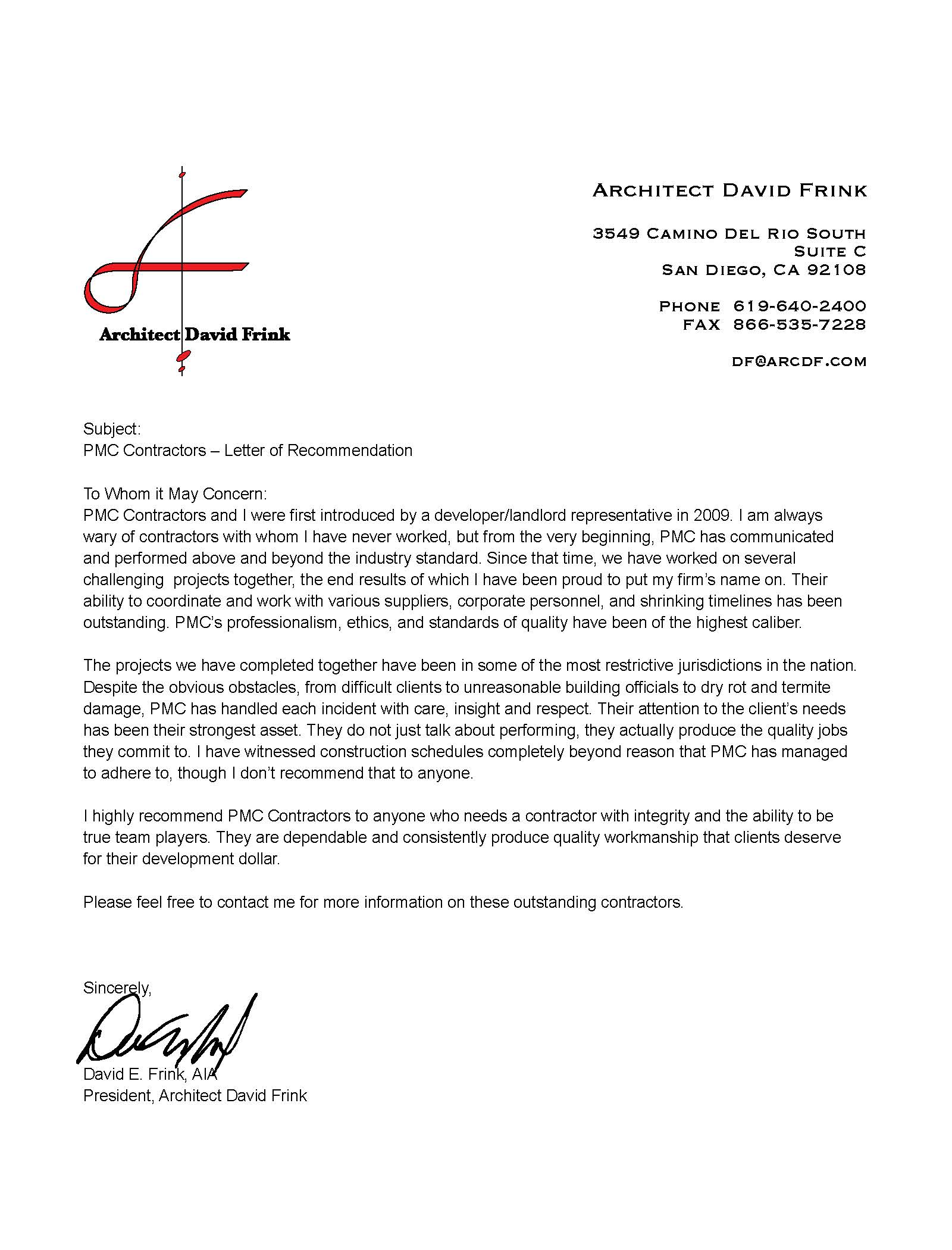 Letters Of Recommendation Pmc Contractors Inc